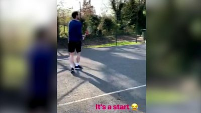 Andy Murray has just posted a clip of him playing tennis on social media - does this mean he's going to be ready to compete at Wimbledon?