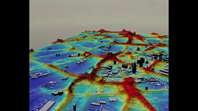A 3D map showing air pollution in London in 2006