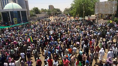Sudan protesters in front of military headquarters in Khartoum