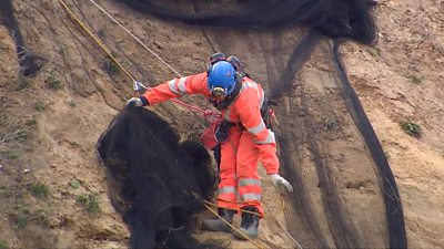 Workman removing nets from cliff