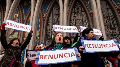 Anti-Catholic Church protesters in Chile