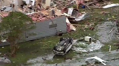 Many injured when a powerful storm hit the small town of Franklin, as storms batter the southern US