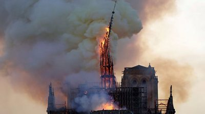 Notre Dame's spire collapsing