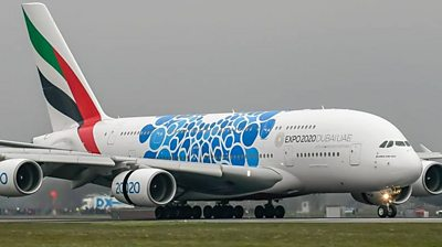 Hundreds of spectators watched the A380 land for its first commercial service in Scotland.
