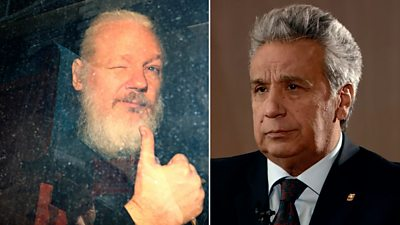 Composite image of Julian Assange and Lenin Moreno
