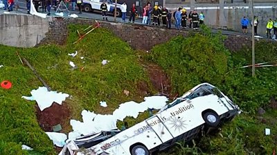 Aerial view of the bus crash