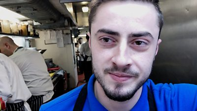 Vasilis Katsio, kitchen porter in a London restaurant