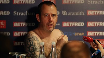 Mark Williams keeps a promise to do his news conference naked if he won the 2018 snooker world title