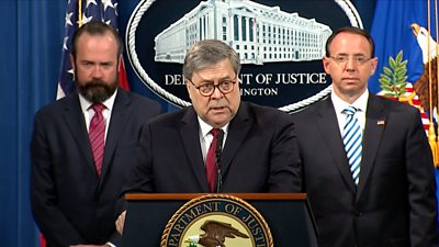 William Barr speaking at press conference