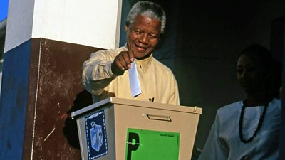 Nelson Mandela casts ballot in South Africa's first democratic elections