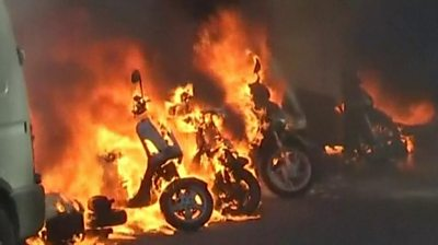 burning scooters