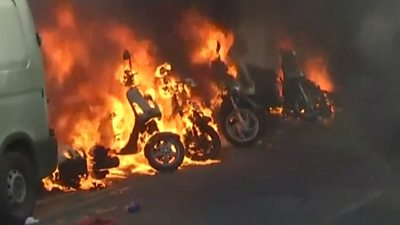Scooters on fire in Paris