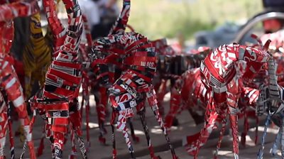Animals made from recycled cans