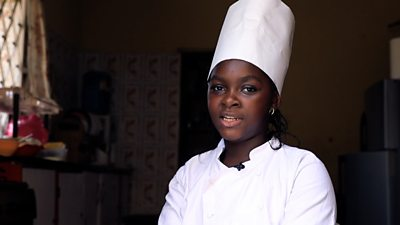 Sammy in her chef's clothes