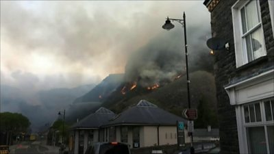 hill fire above town