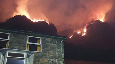 Fires burn in Blaenau Ffestiniog, Wales