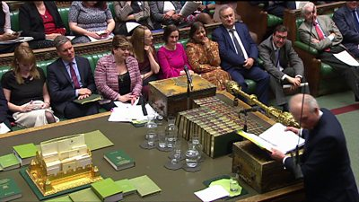 PMQs scene with Labour and Tory frontbenches