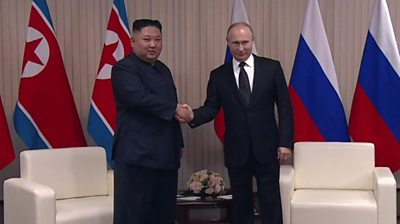 Vladimir Putin And Kim Jong Un Meet In Vladivostok Bbc News