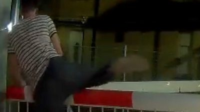 Man jumping level crossing