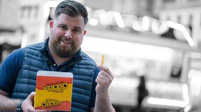 Matt Davies-Binge holding a chip