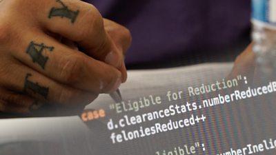 An image of the Code For America algorithm over a tattooed hand