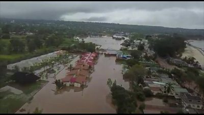 Aerial view of flooding over Mozambique