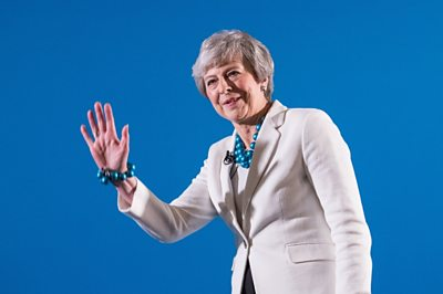 The Prime Minister Theresa May reacts to English local election losses, while speaking at the Welsh Tory conference.