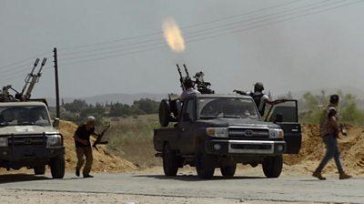 A truck firing a gun