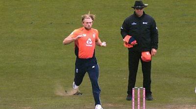 Watch bizarre moment Willey's foot goes through the pitch