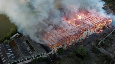 Fire at former Fisons warehouse