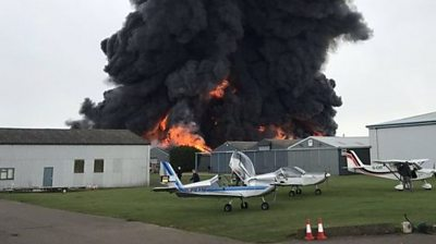 Fire at Sywell Aerodrome