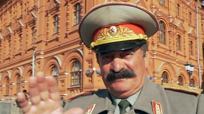 A man dressed as Joseph Stalin on the streets of Moscow