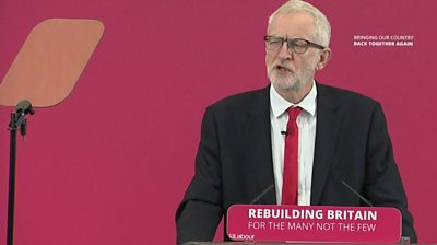 Jeremy Corbyn at Labour election launch