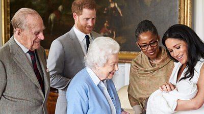The Queen, Duke of Edinburgh, Duke and Duchess of Sussex and Doria Ragland