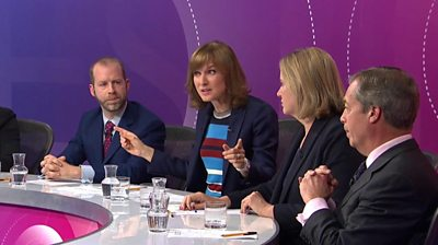 Jonathan Reynolds, Fiona Bruce, Amber Rudd and Nigel Farage