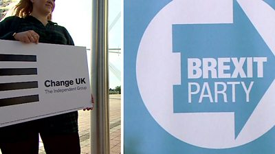 Change UK and Brexit Party logos