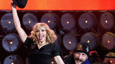 Madonna performs on stage during the Live Earth concert