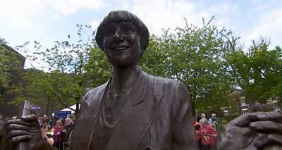 The two-metre high sculpture was unveiled in her home town of Bury.