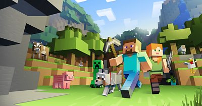 Minecraft characters walking