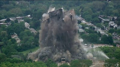 Martin Tower implodes in Pennsylvania