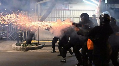 Riot police in Indonesia