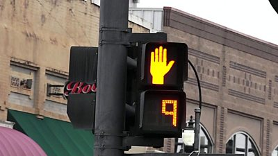 A pedestrian crossing light
