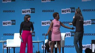 Kamala Harris Democratic Candidate Has Microphone Grabbed By Man Bbc News