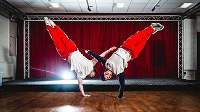 Two breakdancers