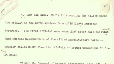 Script from D-Day news bulletin