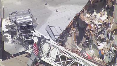 Crane damage to building