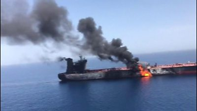 An unverified image of what Iran's Press TV says is a burning tanker in the Gulf of Oman