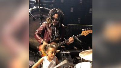 Nandi Bushell drumming with Lenny Kravitz