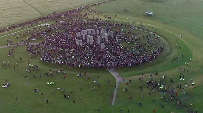 Thousands of people greeted the sunrise at Stonehenge on summer solstice.