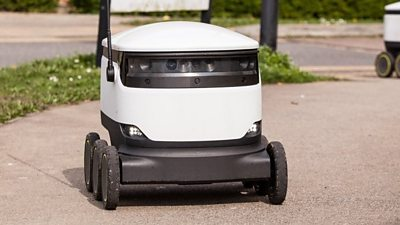 Head to the first place in the UK with robots whizzing around delivering groceries, parcels and takeaway to people living there.